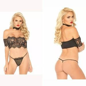 3 Pc Eyelash Strapless Crop Top With Cuff Sleeves